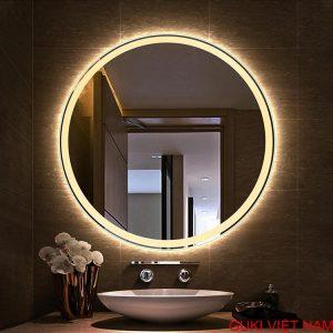 Gương tròn đèn led vàng treo tường phòng tắm nhà tắm