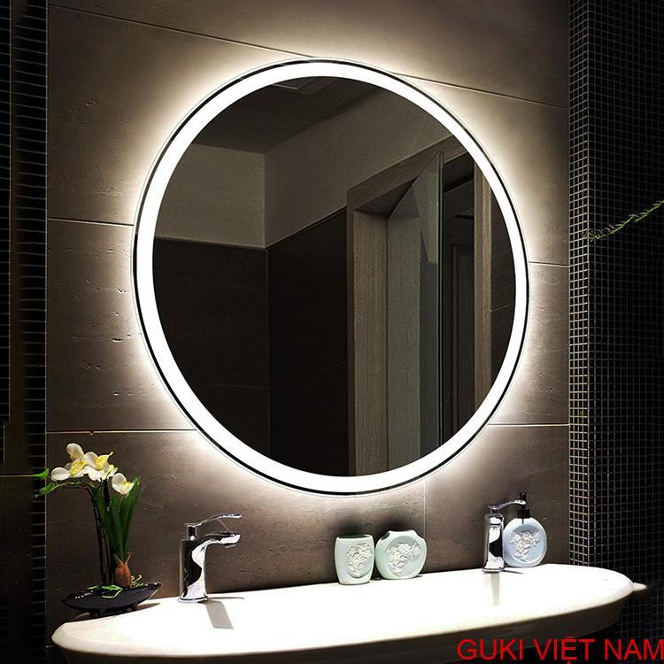 Gương tròn treo tường đèn Led trắng nhà tắm phòng tắm